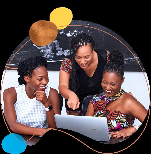 three business women working