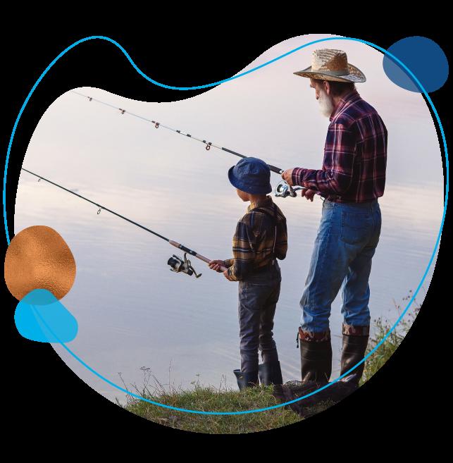 grandpa and grandson fishing