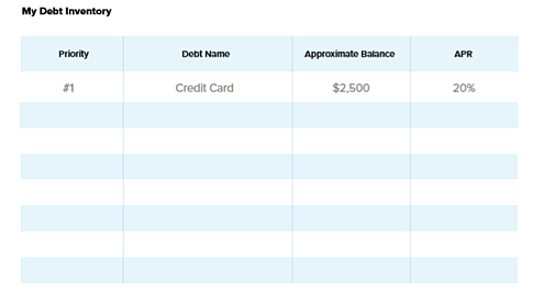 Debt inventory for debt payoff