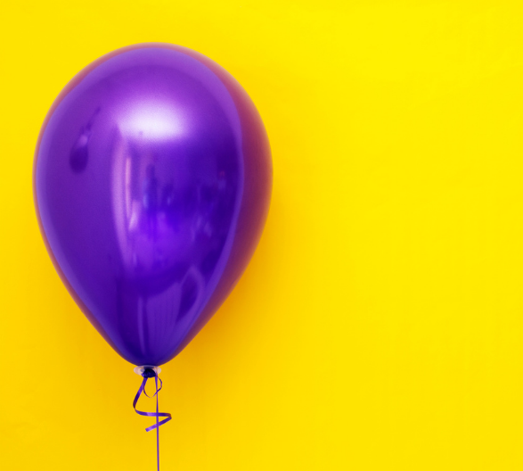 Purple Ballon, Yellow Background