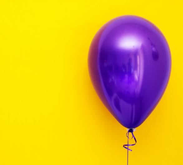 Yellow Background, Purple Balloon