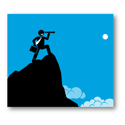 silhouette with telescope on mountain