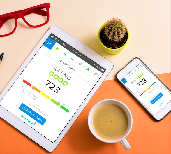 Tablet and Phone Showing Free Credit Score